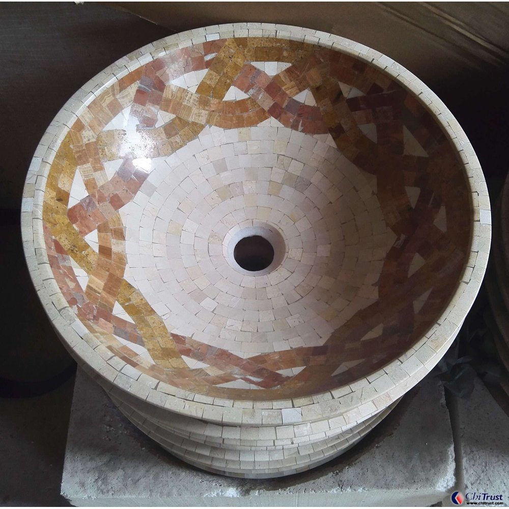 CT611-Art Medallion & Mosaic Stone Basin